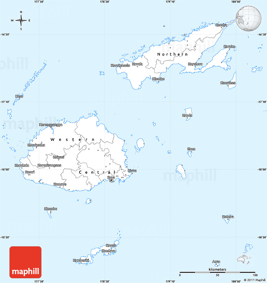 Simple Site Map: Gray Simple Map Of Fiji