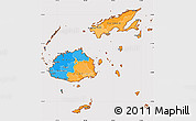 Political Simple Map of Fiji, cropped outside