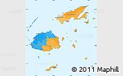 Political Simple Map of Fiji, single color outside