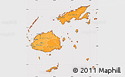 Political Shades Simple Map of Fiji, cropped outside
