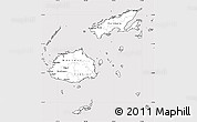 Silver Style Simple Map of Fiji, cropped outside