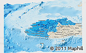 Political Shades Panoramic Map of Western, shaded relief outside