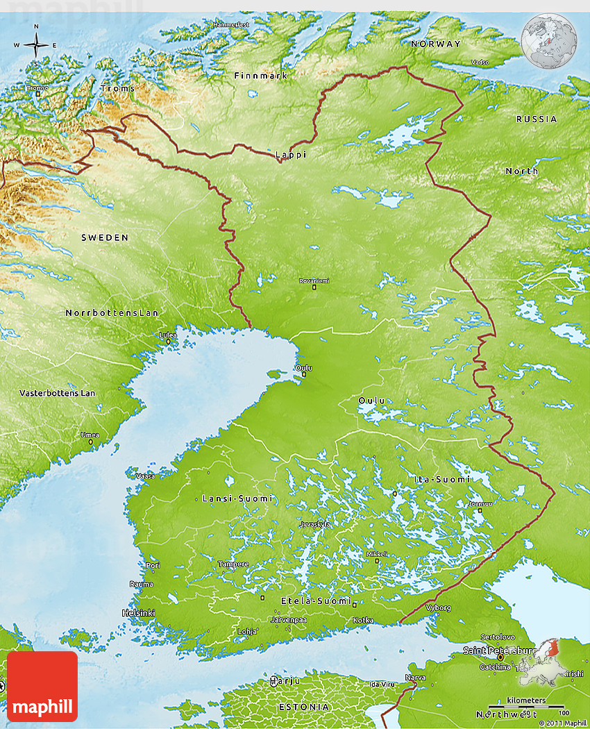 Physical 3D Map of Finland