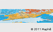 Political Shades Panoramic Map of Etelä-Suomi