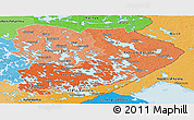 Political Shades Panoramic Map of Itä-Suomi