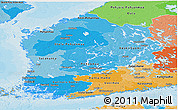 Political Shades Panoramic Map of Länsi-Suomi