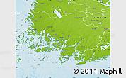 Physical Map of Varinais-Suomi