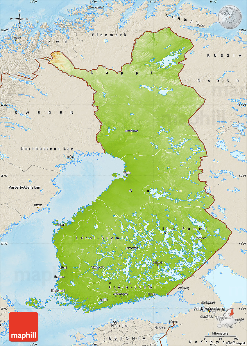Physical Map of Finland shaded relief outside