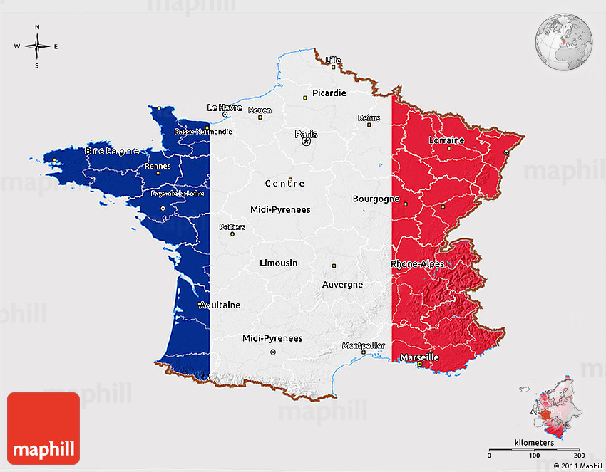 Marseille On Map Of France.Flag 3d Map Of France