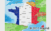 Flag 3D Map of France, political shades outside