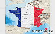 Flag 3D Map of France, shaded relief outside