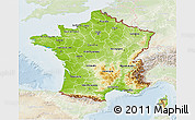 Physical 3D Map of France, lighten