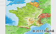 Physical 3D Map of France, political shades outside, shaded relief sea