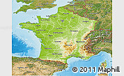 Physical 3D Map of France, satellite outside, shaded relief sea