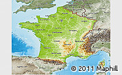 Physical 3D Map of France, semi-desaturated, land only