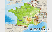 Physical 3D Map of France, shaded relief outside