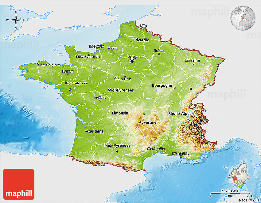 Map Of France Physical.Physical 3d Map Of France Single Color Outside