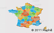 Political 3D Map of France, cropped outside