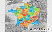 Political 3D Map of France, desaturated
