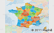 Political 3D Map of France, lighten