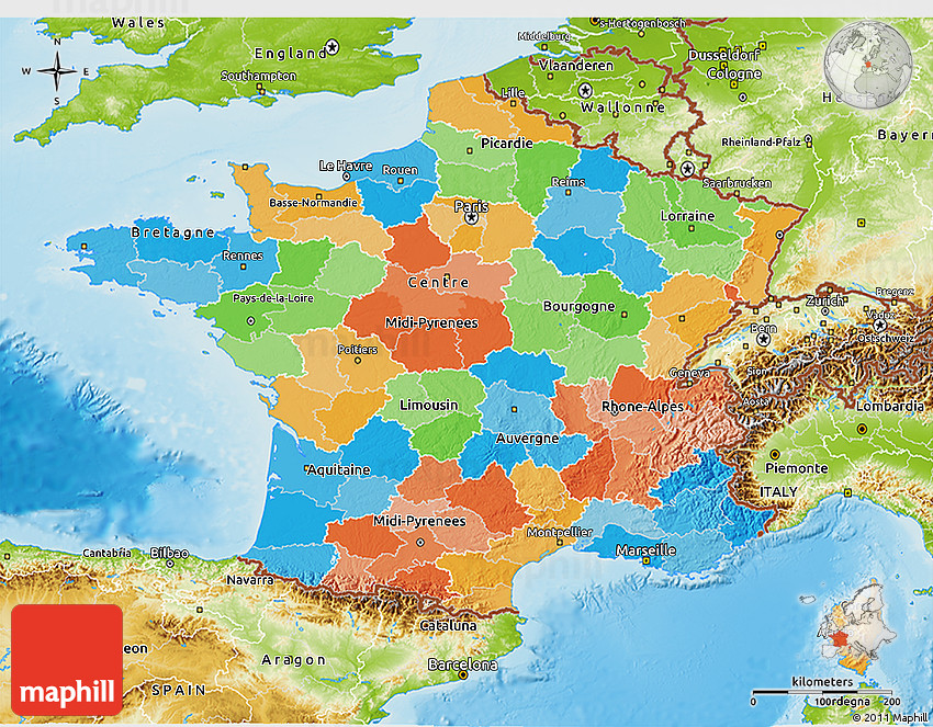 Political 3D Map of France physical outside