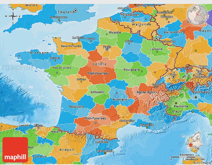 Political 3d map of france