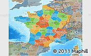 Political 3D Map of France, semi-desaturated, land only