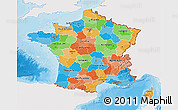 Political 3D Map of France, single color outside