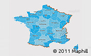 Political Shades 3D Map of France, cropped outside