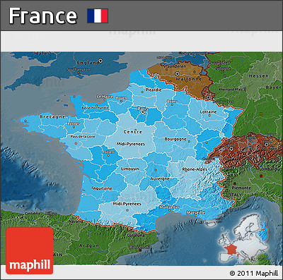Political Shades 3D Map of France, darken