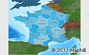Political Shades 3D Map of France, darken, land only