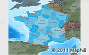 Political Shades 3D Map of France, darken, semi-desaturated, land only