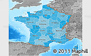 Political Shades 3D Map of France, desaturated, land only