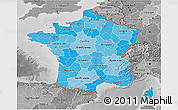 Political Shades 3D Map of France, desaturated
