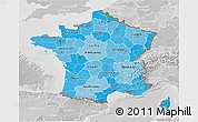 Political Shades 3D Map of France, lighten, desaturated
