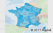 Political Shades 3D Map of France, lighten