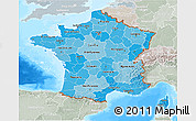 Political Shades 3D Map of France, lighten, semi-desaturated, land only