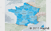 Political Shades 3D Map of France, lighten, semi-desaturated