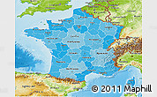 Political Shades 3D Map of France, physical outside