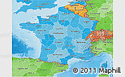 Political Shades 3D Map of France