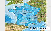 Political Shades 3D Map of France, satellite outside, bathymetry sea