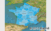 Political Shades 3D Map of France, satellite outside