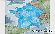 Political Shades 3D Map of France, semi-desaturated