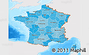 Political Shades 3D Map of France, single color outside, bathymetry sea
