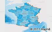 Political Shades 3D Map of France, single color outside