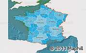 Political Shades 3D Map of France, single color outside, satellite sea