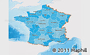 Political Shades 3D Map of France, single color outside, shaded relief sea