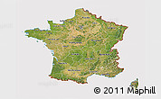 Satellite 3D Map of France, cropped outside