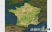 Satellite 3D Map of France, darken