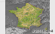 Satellite 3D Map of France, desaturated